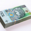 Stack of polish Zloty banknotes — Stock Photo