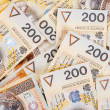 Stock Photo: Background made of 200 pln banknotes