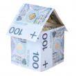 House made of polish money isolated - Stock Photo