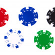 5 casino chips each different color — Stock Photo