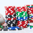 Royal flush and big stake isolated - Stock Photo
