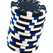 Stock Photo: Black and white casino chips isolated
