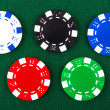 Casino chips each different color — Stock Photo