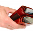 A brown wallet full of money isolated - Stock Photo