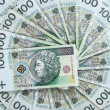 Background made of 100 zloty banknotes — Stock Photo