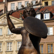 Siren in Old City Square in Warsaw — Stock Photo