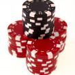 Stock Photo: Stacks of casino chips isolated on white
