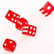 5 Red dices in move — Stock Photo