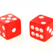 2 Dice close up - showing 2 and 5 — Stock Photo