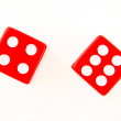 Stock Photo: 2 Dice close up - showing 4 and 6