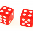 2 Dice close up - showing 4 and 4 — Stock Photo