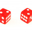 2 Dice close up - showing  2 and 2 — Stock Photo