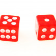 2 Dice close up - showing 1and 5 - ストック写真