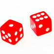 2 Dice close up - showing 1 and 6 — Stock Photo