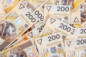 Background made of 200 pln banknotes — Stock Photo