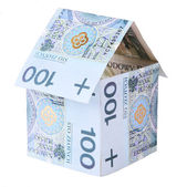 House made of polish money isolated — Stock Photo