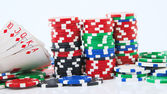 Royal flush and big stake isolated — Stock Photo
