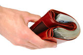 A brown wallet full of money isolated — Stock Photo