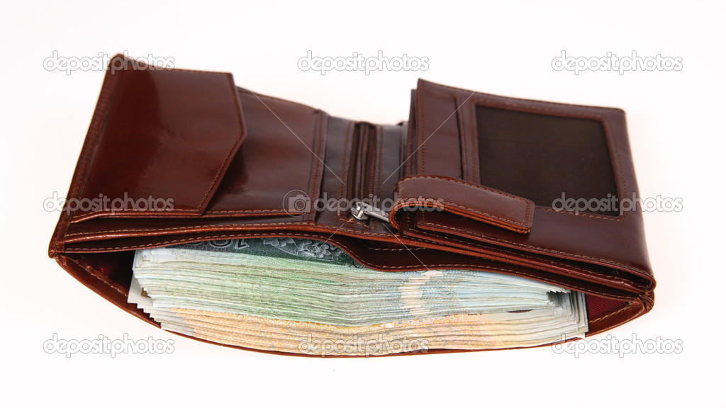 Brown wallet full of money isolated stock image