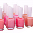 Pink  nailpolish set isolated — Stock Photo