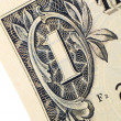 extreme closeup on one dollar banknote — Stock Photo