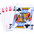 Stock Photo: Full house of aces and kings isolated