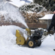 Senior man with snowblower — Stock Photo