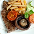Stock Photo: Steak with fries and salad