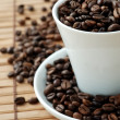 Foto Stock: Cup with coffe beans