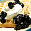 Waffles with fruits — Stock Photo