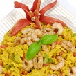Stock Photo: Rice with prawns