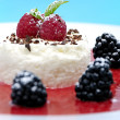 Cheesecakes with fruits — Stock Photo