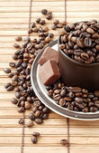 Cup of coffe beans — Stock Photo