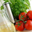 Stock Photo: Tomatoes with basil and oil