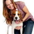 Beautiful young woman with dog — Stock Photo #1855902