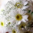Wedding bucket of white flowers — Stock Photo