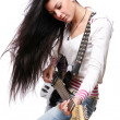 Stock Photo: Happy smiling girl playing guitar