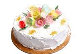 сладкий свадебный торт на белом — Стоковое фото