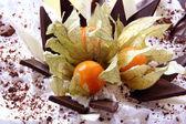 Sweet dessert fruit cake on white — Stock Photo
