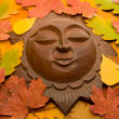 Decorative sun in autumnal leaves. - Stock Photo