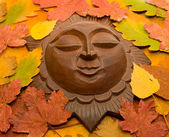 Decorative sun in autumnal leaves. — Stock Photo