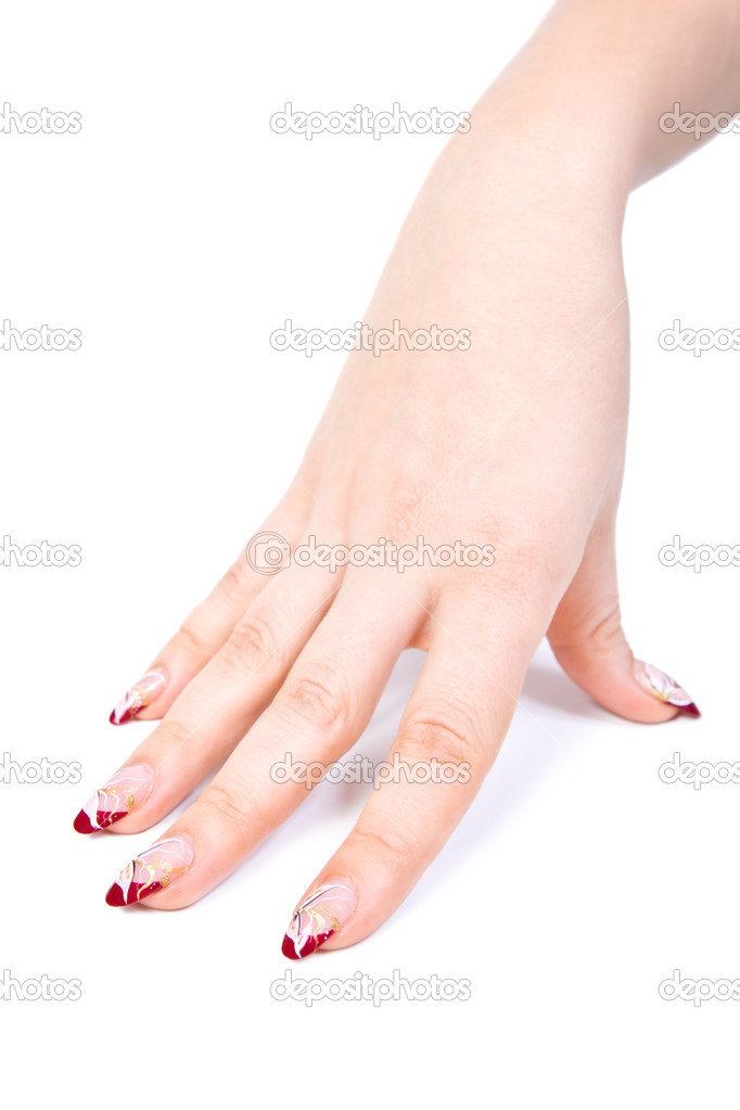 Woman hand with manicured acrylic nails — Stock Photo #1638212