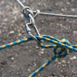 Joining somewhat ropes carabine. - Stock Photo