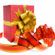 Fancy box and ribbon for ornamentation. — Stock Photo