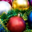 Multi-colored Christmas tree balls — 图库照片