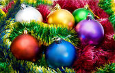 Multi-colored Christmas tree balls — Stock Photo