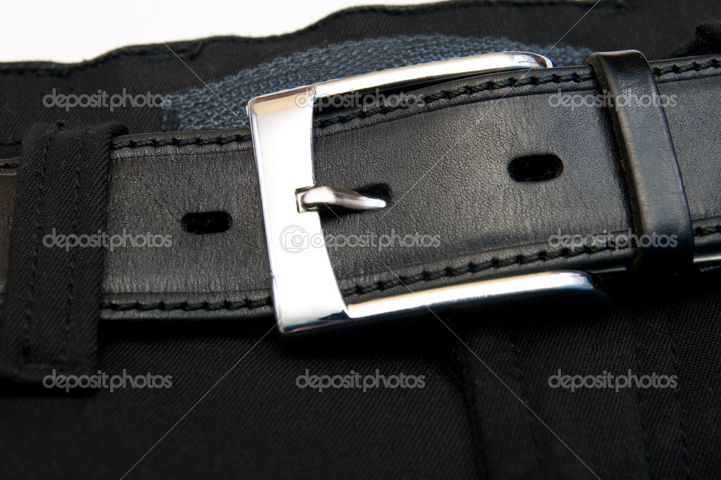 Buttoned strap on black jeans  — Stock Photo #1767819