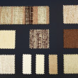 Multicolored furniture fabric samples - 图库照片