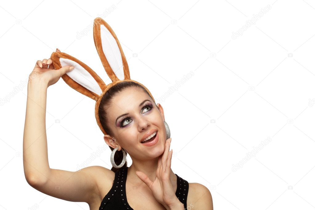 Young playful woman with bunny ears over white — Stock Photo #1780992
