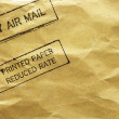 Letter envelope with air mail stamp - Stock Photo